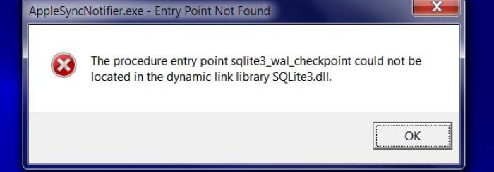 How to fix the AppleSyncNotifier.exe – Entry Point Not Found error